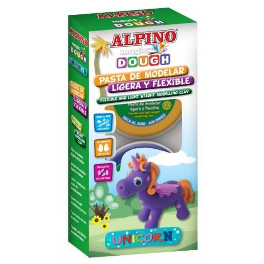 Kit 3 culori plastilina magica, ALPINO Unicorn