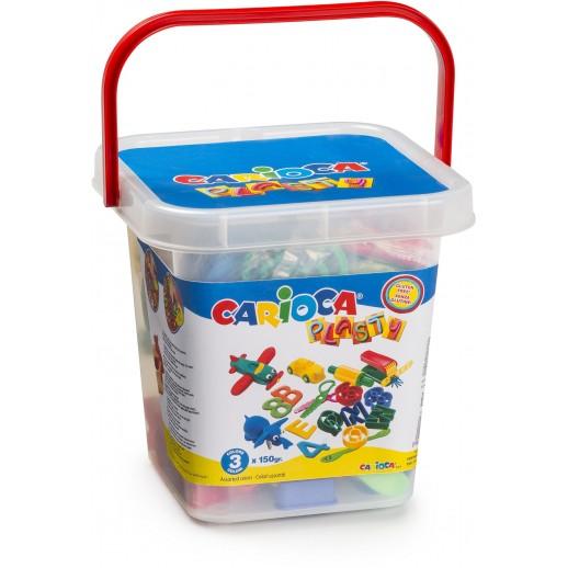 Kit 3 culori x 150gr plastilina + 41 forme modelaj + accesorii, CARIOCA Plasty