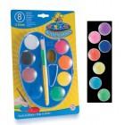 Acuarele lavabile, 8 culori/set + pensula maxi, CARIOCA Palette