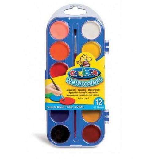 Acuarele lavabile, 12 culori/cutie + pensula, CARIOCA