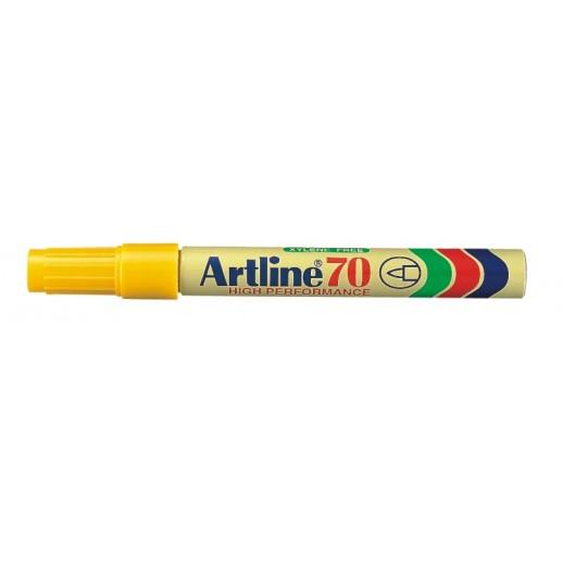 Permanent marker ARTLINE 70, corp metalic, varf rotund 1.5mm - galben