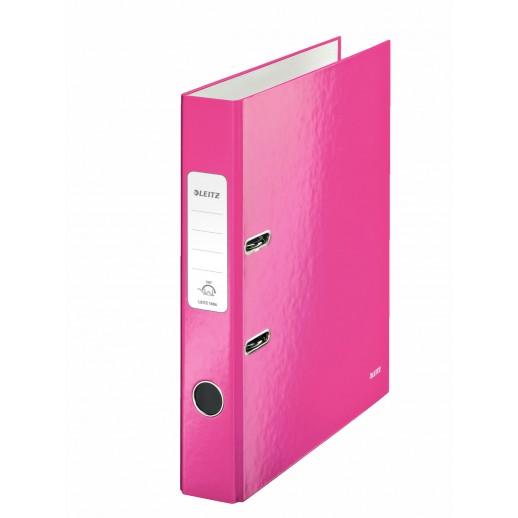 Biblioraft LEITZ 180 Wow, A4, 50mm, carton laminat - roz metalizat