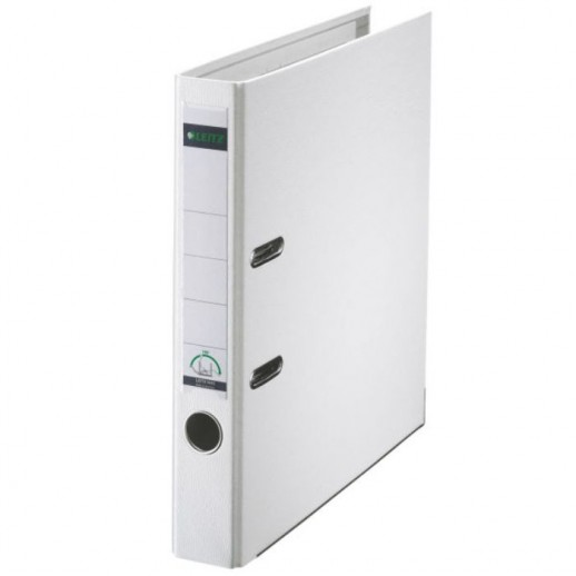 Biblioraft LEITZ 180, A4, plastifiat PP, margine metalica 52 mm - alb