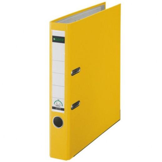 Biblioraft LEITZ 180, A4, plastifiat PP, margine metalica 52 mm - galben