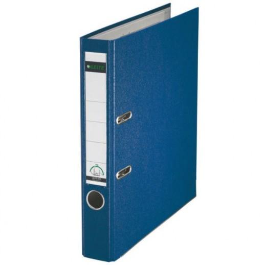 Biblioraft LEITZ 180, A4, plastifiat PP, margine metalica 52 mm - albastru