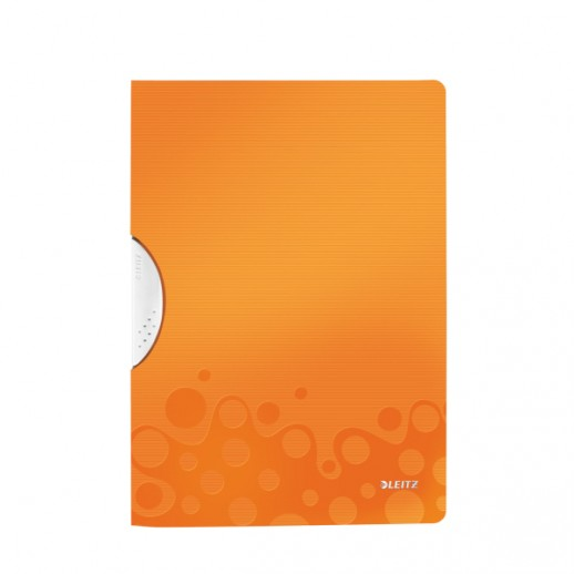 Dosar cu clip LEITZ Wow ColorClip, PP - portocaliu metalizat