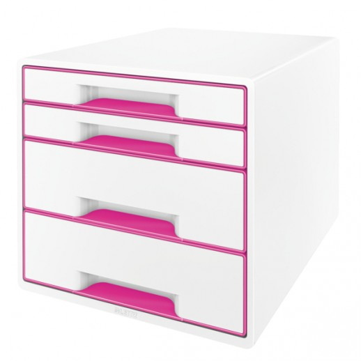 Cabinet cu sertare LEITZ Wow, 4 sertare - alb/roz