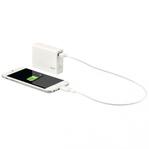 Baterie externa LEITZ Complete cu USB, 6000 mAh - alb