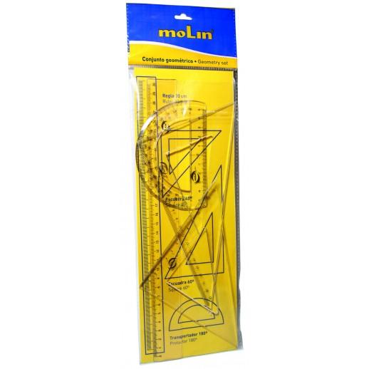 Set geometrie, contine: rigla 30 cm, raportor, 2 echere, MOLIN