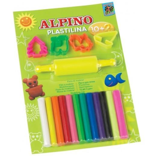 Kit 10 +2 culori x 17gr plastilina + 4 forme modelaj + roller, in blister, ALPINO