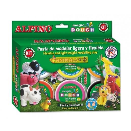Kit 6 culori x 40gr plastilina magica + 4 seturi accesorii, ALPINO Animals