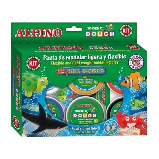Kit 6 culori x 40gr plastilina magica + 4 seturi accesorii, ALPINO Sea World