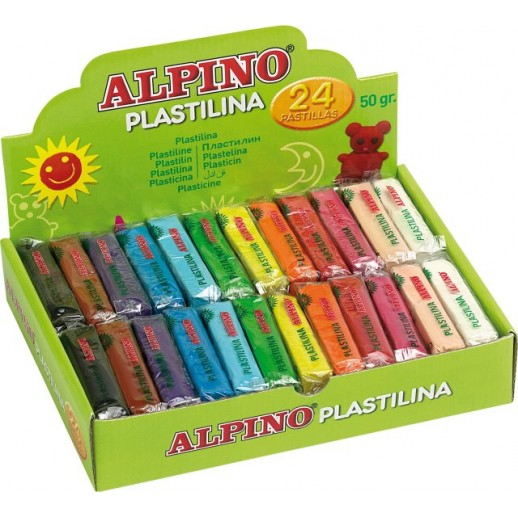 Display plastilina standard, 24 x 50gr./display, ALPINO - 12 culori asortate