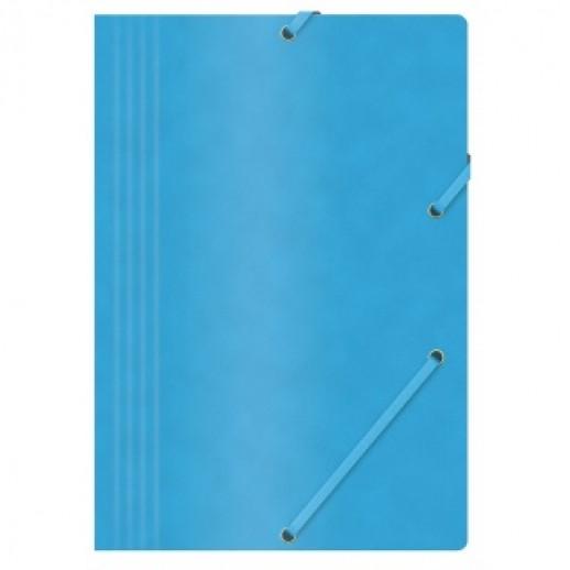 Mapa din carton presat cretat, cu elastic, 390gsm, Office Products - albastru