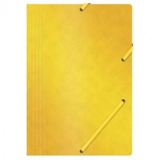 Mapa din carton presat cretat, cu elastic, 390gsm, Office Products - galben