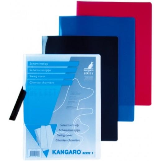 Dosar din plastic cu clema pivotanta, KANGARO - negru